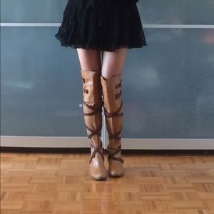 One of a kind over the knee leather tan boots
